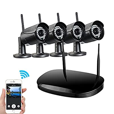 Network Video Security System, UOKOO HD 720P Video Security System with 4 Weatherproof Outdoor/Indoor Bullet IP Cameras, 98ft Night Vision and 1 PC of 4-Chanel Wireless NVR Kit (Black) from UOKOO