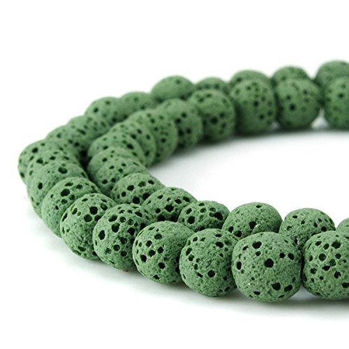 BEADNOVA 6mm Color Lava Gemstone Beads Energy Stone Healing Power Loose Beads for Jewelry Making 63~65pcs (6mm x 1 Strand, Dark Green)