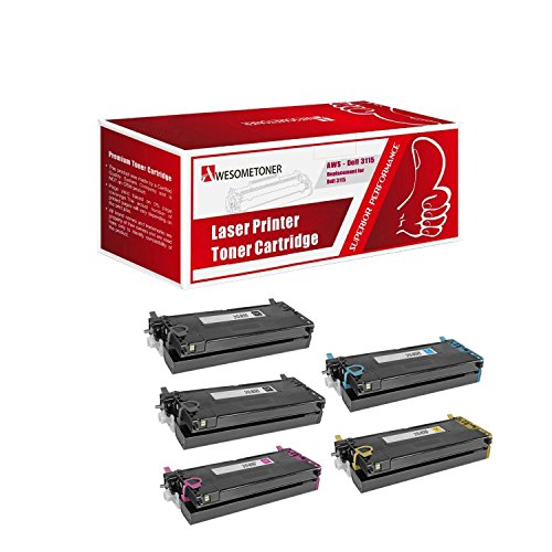 (Awesometoner Dell 3110cn / 3115cn High Capacity Compatible Toner 5pk Value Bundle - Price Includes One Each Of Toner Cartridges-Black/ Cyan/ Magenta/ Yellow)