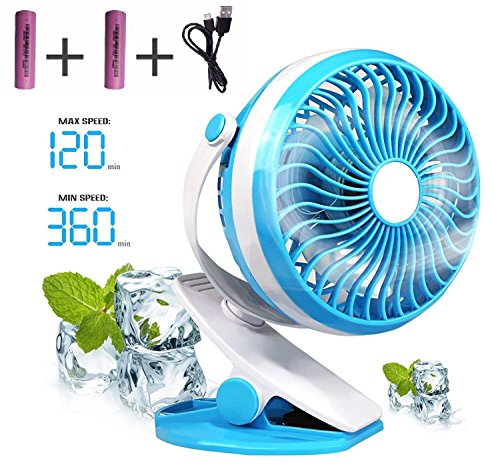 Baby Stroller Mini Battery Operated Clip Fan,Small Portable Fan Powered by Rechargeable Battery or USB Desk Personal Car Gym Workout Camping,Blue (Gooseneck Vent)