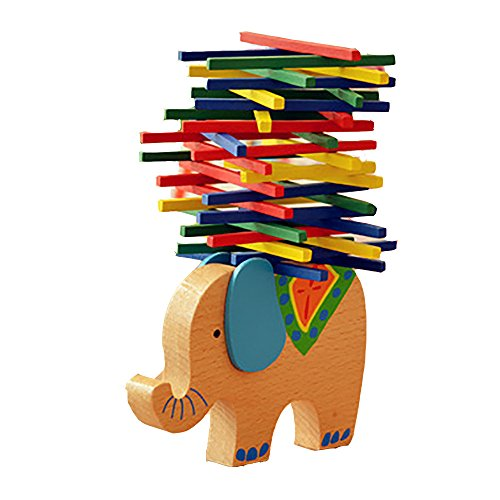 ( Christmas Clearance , 40PCS Colored Sticks Elephant Base Kids Educational Toys Wooden Balance Game Montessori Blocks Toys Gift)