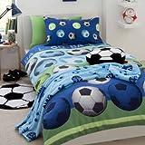 Blue Soccer Ball Comforter Cover Set for Single Bed