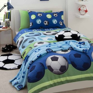 Blue Soccer Ball Comforter Cover Set for Single Bed B00I8LE4FA