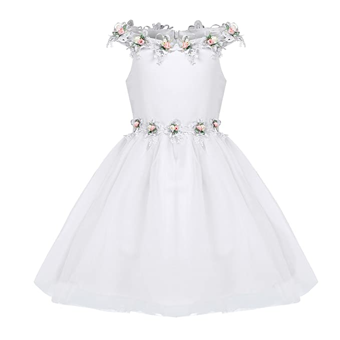 Freebily Vestido de Flor de Boda Formal de Ropa de Dama de Fiesta de Bautismo Vestido