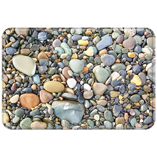 (YISUMEI 20 x 32 Inch Carpets Floor Rug Indoor Outdoor Area Rugs Front Doormats Office Doormat Bathroom Mats Non Slip Backing Pebble Stone)
