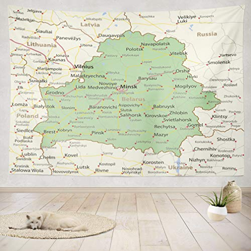 (ASOCO Tapestry Wall Handing Map Country Borders Urban and English Chart City Countries Country Map Road Wall Tapestry for Bedroom Living Room Tablecloth Dorm 50X60 Inches)