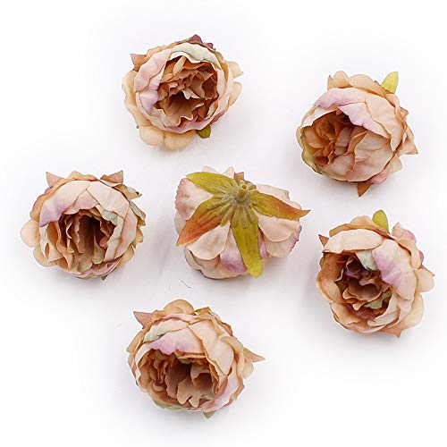 (Artificial Flower Fake Flower Heads in Bulk Wholesale for Crafts Peony Silk Flower Head Wedding Decoration Party Festival Home Decor DIY Decorative Wreath Fake Flowers 15 Pieces 5cm (Brown))