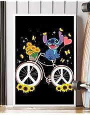 """NUCOVASUTEE Steek op de fiets zonnebloem hippie poster (12"""" x 18"""")"""