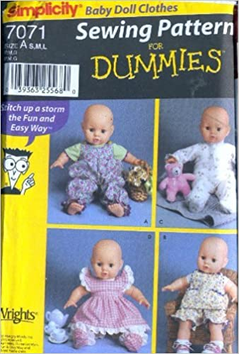 Simplicity 7071 Baby Doll Clothes In 3 Sizes Patterns For S M