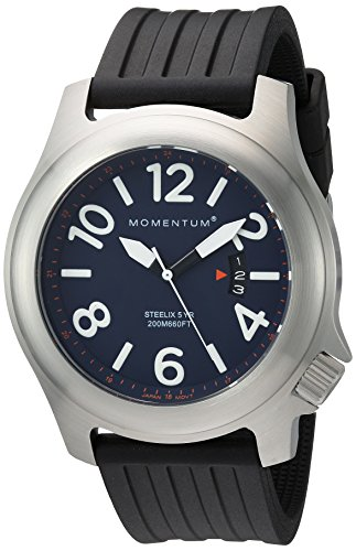 Men's Sports Watch Steelix Nylon Adventure Watch by Momentum  Stainless Steel Watches for Men  Analog Watch with Japanese Movement  Water Resistant(200M/660FT)Classic Watch - Blue  1M-SP74U1B