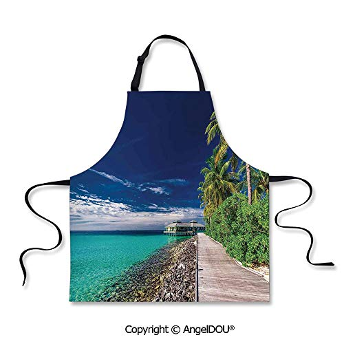 SCOXIXI Kitchen Bib Apron with Adjustable Neck A Wooden Boardwalk at The Beach Under Palm Trees in Dark Sky Hawaiian Paradise Scene Decorative for Grill BBQ Cooking Cosplay Party.