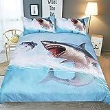FELALA 3D Personalized Design Blue Shark Duvet Cover Set Style Microfiber Decoration Room Home-Full