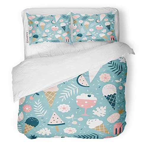 Semtomn Decor Duvet Cover Set Full/Queen Size Summer Pattern Sweet Desserts Ice Cream Popsicle Pineapple Watermelon 3 Piece Brushed Microfiber Fabric Print Bedding Set Cover