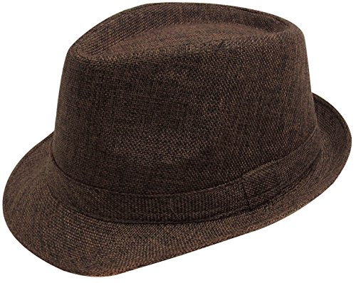 [Simplicity Women Men Summer Gangster Trilby Straw Fedora Hat Cap W/ Brim, Brown] (Fedora Gangster Hat)