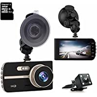 ULU SD420 FHD 1080P Dash Cam Front + VGA Rear 290° Super Wide Angle Car Dashboard Camera Recorder with 4.0 Large HD Screen, 32GB Card, G-Sensor, Loop Recording,WDR,Parking Mode,Super Night Version