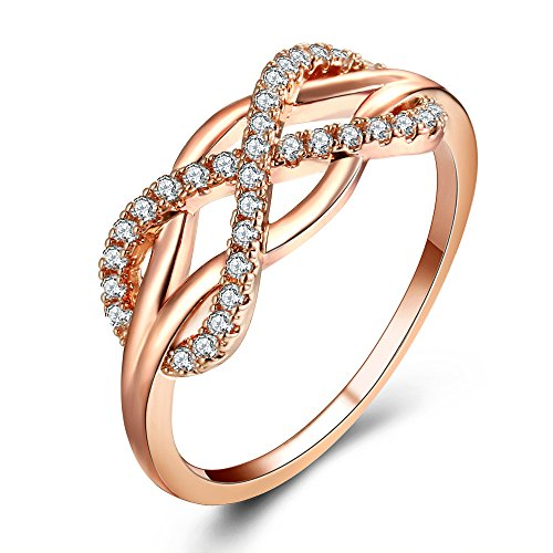 Infinity Ring Rose Gold Wedding Band Promise Rings
