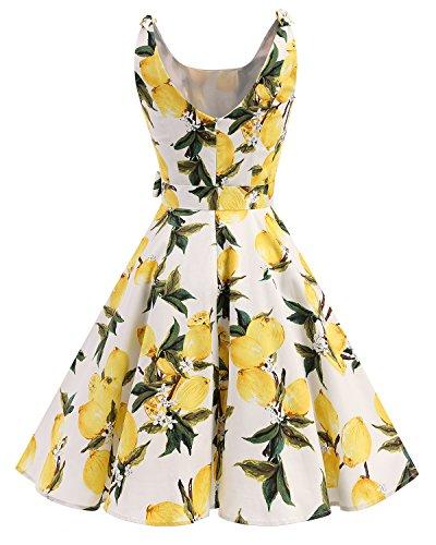 1950 Retro Estampado Vintage Rockabilly Cóctel Vestidos Bbonlinedress de Lemon con Lazo 4Awq77
