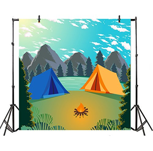 Leyiyi 5x5ft Photography Background Cartoon Hawaii Summer Holiday Backdrop Diving Camping Seaside Birthday Party Ocean Wave Mountains Trees Baby Shower Photo Portrait Vinyl Video Studio Prop