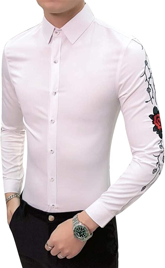 DFBB Men Fashion Nightclub 花刺绣 Slim Long Sleeve Button Down Dress Shirts