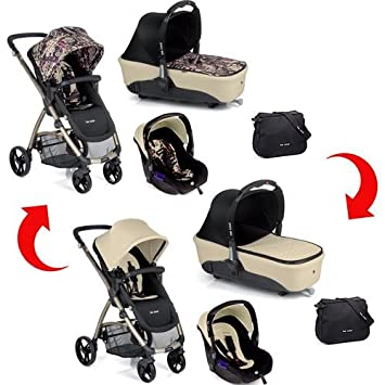 Be Cool - Coche de paseo Trio Slide 3 Cocoon Zero reversible: News/Ivory (negro/beige): Amazon.es: Bebé