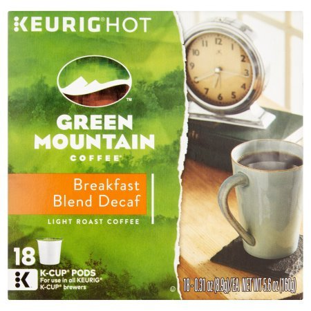 Keurig 0.31oz-18 Count Hot Green Mountain Coffee Light Roast Coffee Breakfast Blend Decaf K-Cup Pods