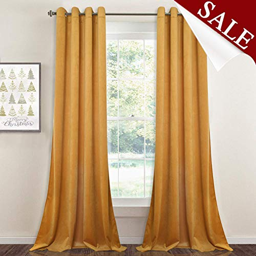 StangH Light Blocking Curtains Velvet - Soft Smooth Velvet Textured Drapes Privacy Protect Noise Absorb Window Draperies for Kids Room, Warm Yellow, W52 x L84 inches, 2 Panels