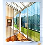 HAIXIA Shower-Curtains Landscape Apartment Villa with Patio and Garden Mountain Ocean Sunny Image White Forest Green and Blue