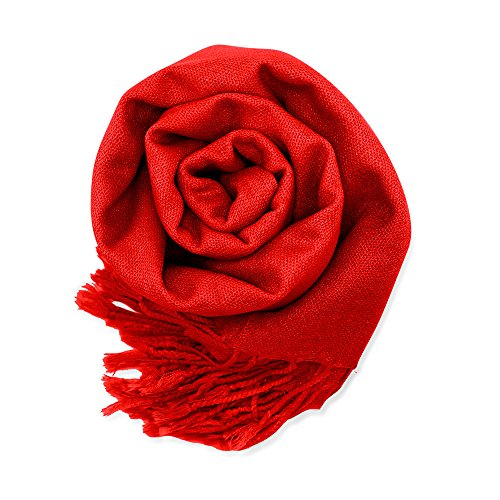 Soft Pashmina Scarf for Women Shawl Wrap Scarves Lady Womens Scarfs in Solid Colors - Red