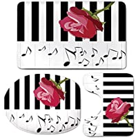 3 Piece Bath Mat Rug Set,Modern,Bathroom Non-Slip Floor Mat,Hand-Drawn-Red-Rose-on-Piano-with-Musical-Notes-Romantic-Instrumental-Art,Pedestal Rug + Lid Toilet Cover + Bath Mat,Scarlet-Black-White