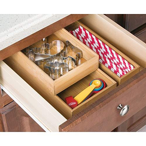 mDesign Bamboo Kitchen Cabinet Drawer Organizer Stackable ...
