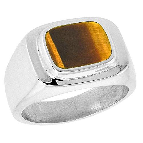(Sterling Silver Tiger Eye Ring for Men Rounded Rectangular Raised Solid Back Handmade, size 13)