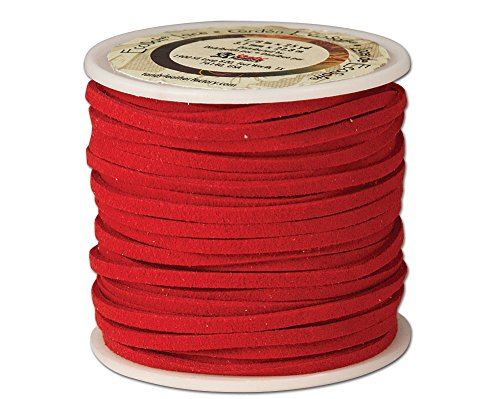 Leather Factory Ecosoft Lace Spool Red, 1/8 x 25yd