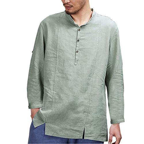 - ◕‿◕ Toponly Mens Cotton Linen Shirts Long Sleeve Stand Neck Tops Loose Blouse