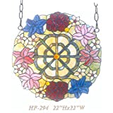 HF-294 22 Inch Vintage Tiffany Style Handmade Stained Glass Church Art Colorful Flower Design Window Hanging Glass Panel Suncatcher