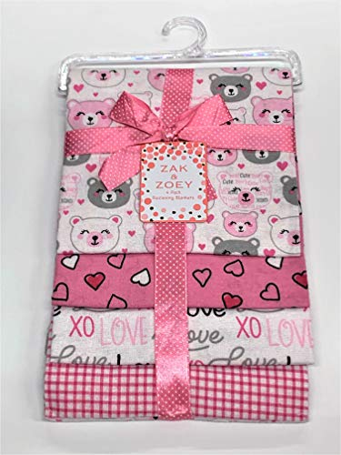 "Lovable and Cozy 4-Pack Receiving Baby Blankets - 100% Cotton 26"" x 26"" Your Little One Will Love (Love XOXO)"
