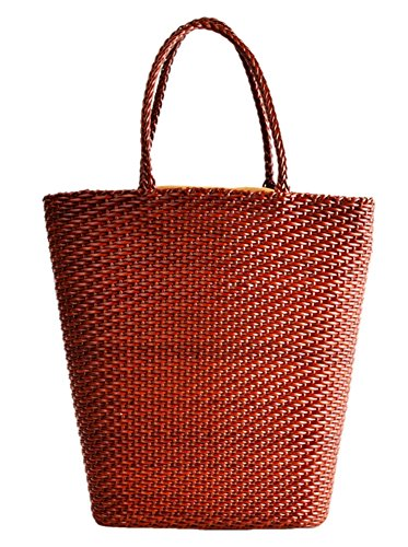 Orange Shopping Leather Tote Insun Handle Woven Women's 7qTw7ntY