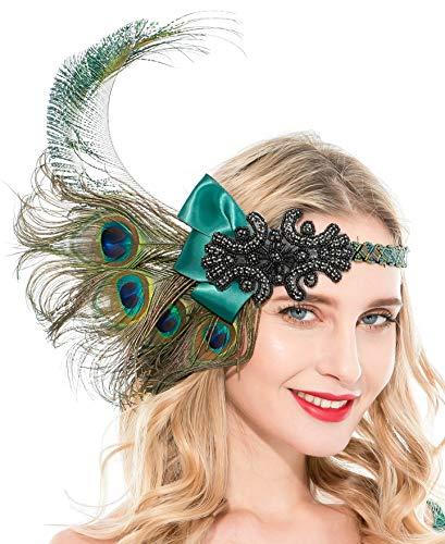 Zivyes 1920s Accessories Peacock Feather Headband Women's Costume Headwear Hat Accessories Flapper Wedding Headpiece (Color 5-Peacock)
