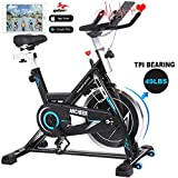 ANCHEER Indoor Cycling Bike - Stationary Exercise Bikes with 49LBS Flywheel, Adjustable Resistance and LCD Monitor for Home Exercise, APP Control (Diamond Black)
