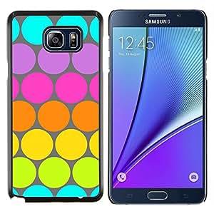 LECELL--Funda protectora / Cubierta / Piel For Samsung Galaxy Note 5 5th N9200 -- Modelo de punto azul verde lima colorido --