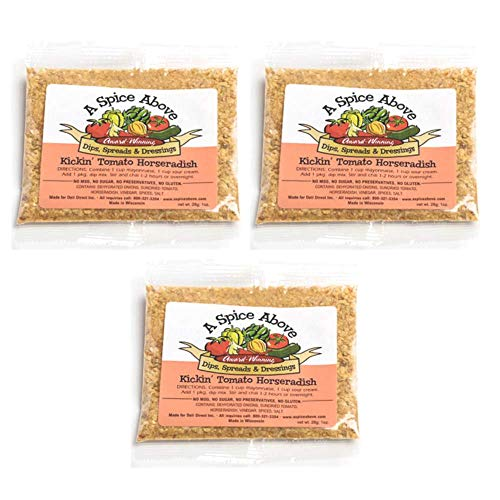 A Spice Above Dips, Spreads, and Dressing Mixed Seasonings Party Packets, 3 Pack (Kickin Tomato Horseradish)