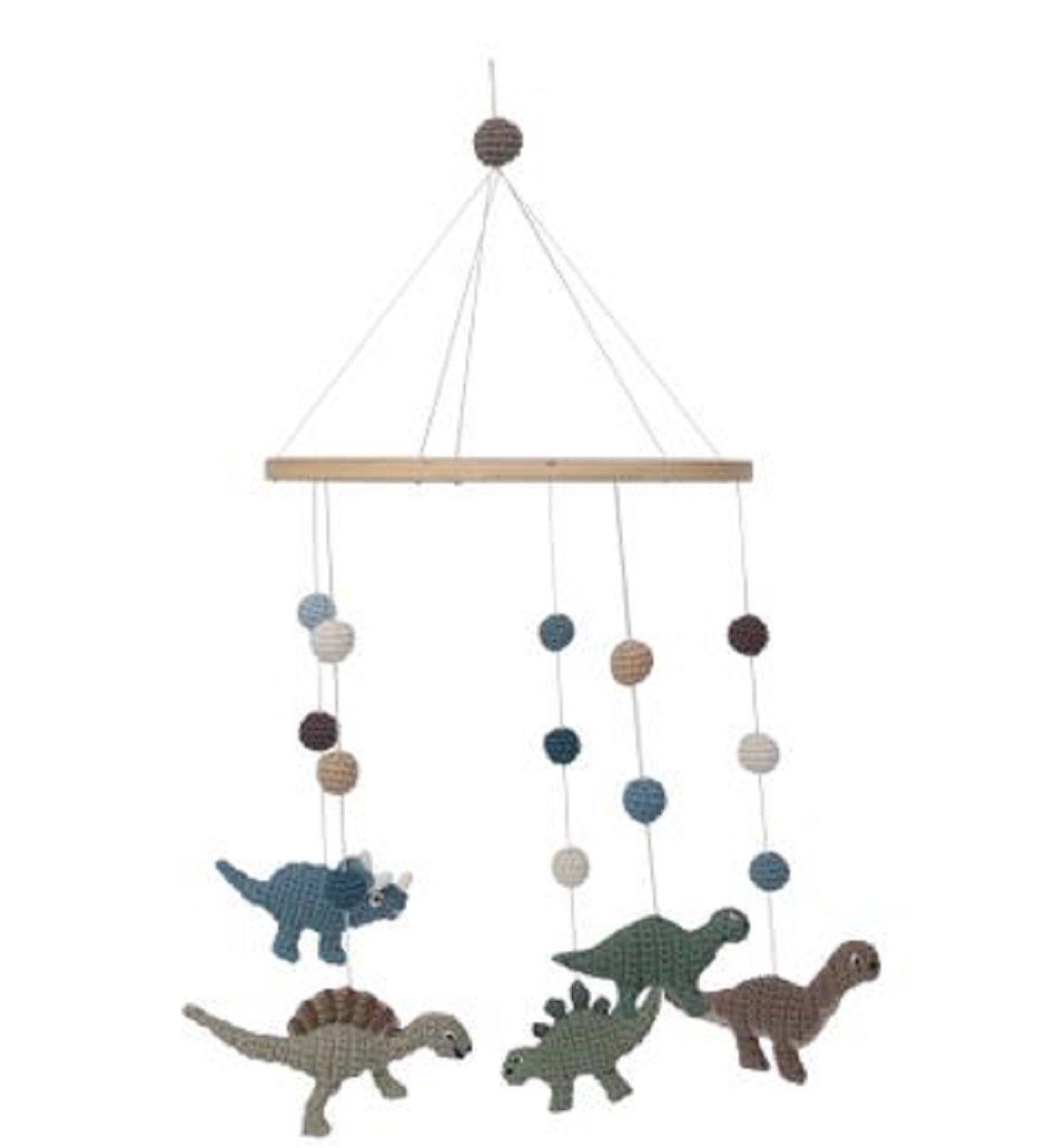 Sebra Baby-Mobile aus Baumwolle Modell Dinos für Wickeltisch Babybett, Handmade