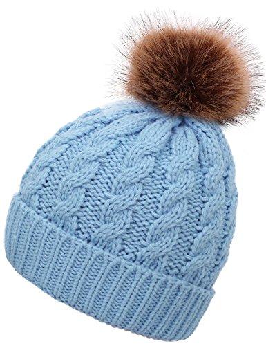 light blue knit beanie - 4