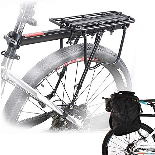 Yanoen Bicycle Rear Rack Carrier Rack Holder Adjustable Rear Bicycle Black Seat Holder Luggage Cargo Carrier with Reflector 50KG Capacity