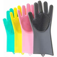 Manar Kitchen Magic Gloves for Dishwashing Rubber Dish Washing with Brush Cleaning Scrubber – 1 Pair (Multi Colour)