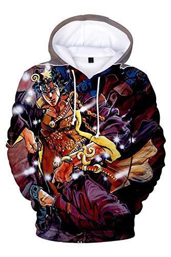 JoJo's Bizarre Adventure Jotaro Kujo Diavolo Printed Hoodie Sweatshirt Pullover Top Cosplay Costume (S, Ver.C)