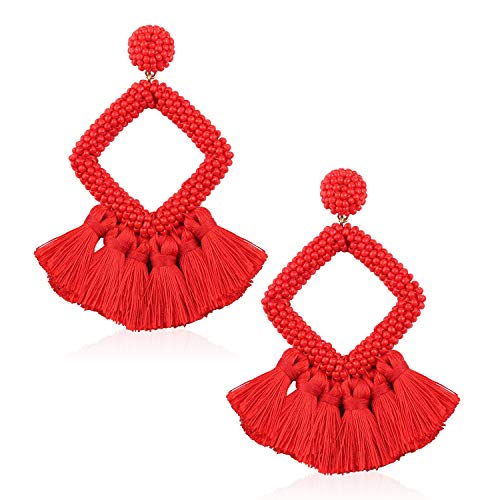 Tassel Bead Statement Earrings for Women Girls Handmade Bohemian Beaded Hoop square Thread Fringe Dangle Trendy Daily Studs Ear Jewelry Accessory Present for Wife Her with Gushion Gift Box GUE137 Red