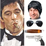 Tough Guy Black Wig Tony Montana Scarface Al Pacino Mobster Mob 80/'s Adult