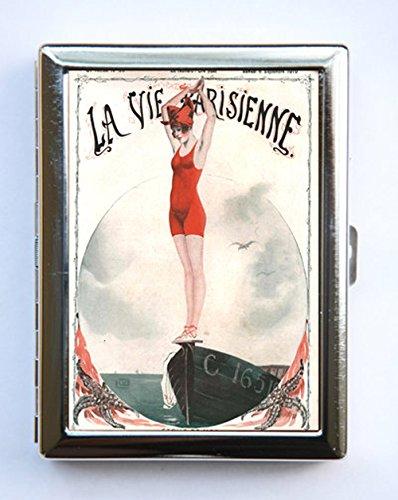 Art Deco La Vie Parisienne Flapper Swimmer Cigarette Case id case Wallet Business Card Holder