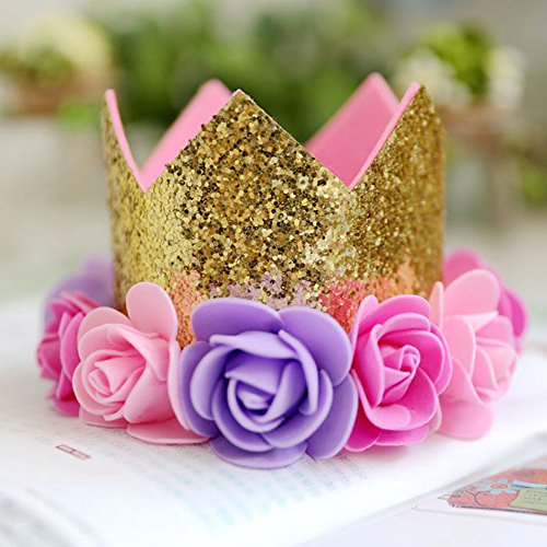 Crown Candle - LOVELY BITON TM Gold Pink Flower Happy Birthday Hat Crown Party Decorations