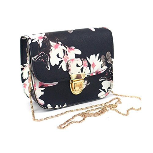 Crossbody Bag, Women Shoulder Bag Butterfly Flower Purse Tote Handbag Tote Messenger Bag (Black)